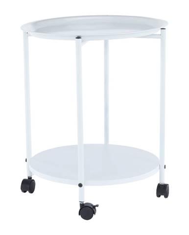 Príručný stolík s odkladacou táckou biela DERIN