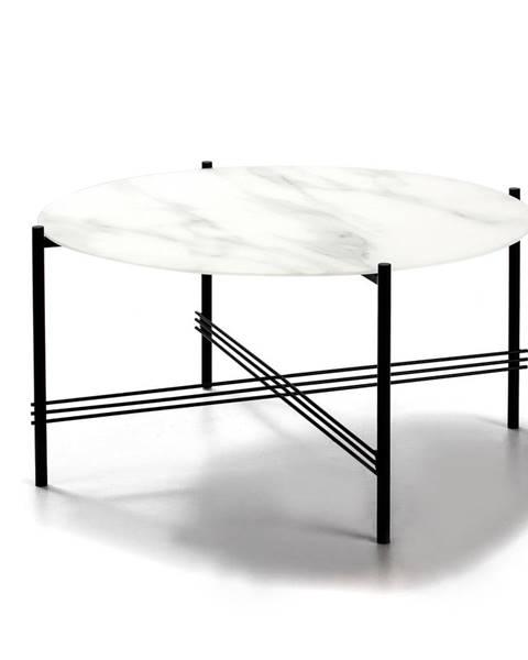 Marckeric Bielo-čierny konferenčný stolík so sklenenou doskou v mramorovom dekore Marckeric, ø 84 cm