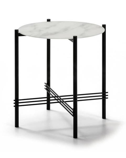 Marckeric Bielo-čierny odkladací stolík so sklenenou doskou v mramorovom dekore Marckeric, ø 47 cm