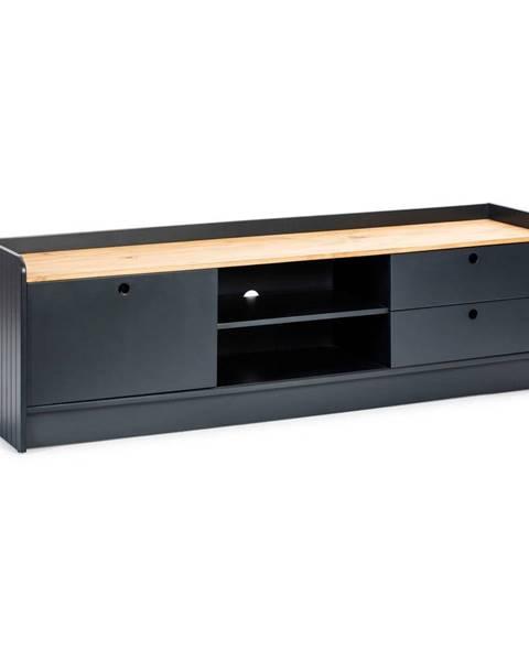 Marckeric Sivý TV stolík s doskou v dekore borovicového dreva Marckeric Monte