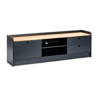 Sivý TV stolík s doskou v dekore borovicového dreva Marckeric Monte