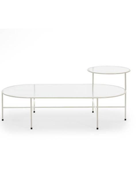 Teulat Krémovo-biely konferenčný stolík so sklenenou doskou Teulat Nix