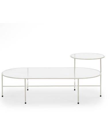 Krémovo-biely konferenčný stolík so sklenenou doskou Teulat Nix