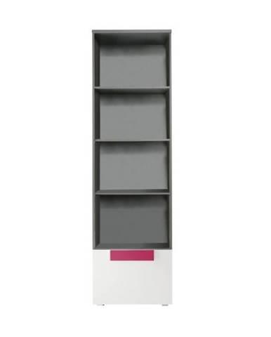 Vitrína sivá/biela/fialová LOBETE 81