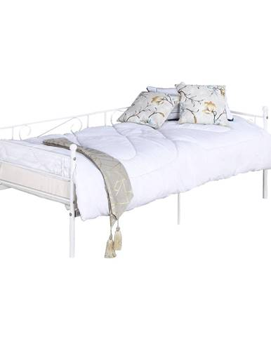 Kovová pohovka - jednolôžko biela 90x200 ROZALI