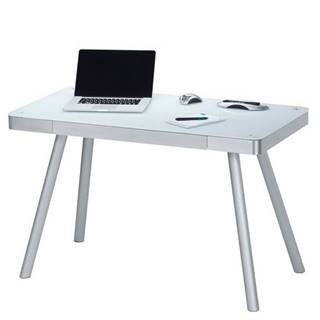 Počítačový stôl MAXWELL kov/biele sklo