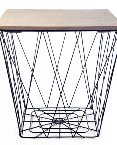 Príručný stolík prírodná/čierna AZURO