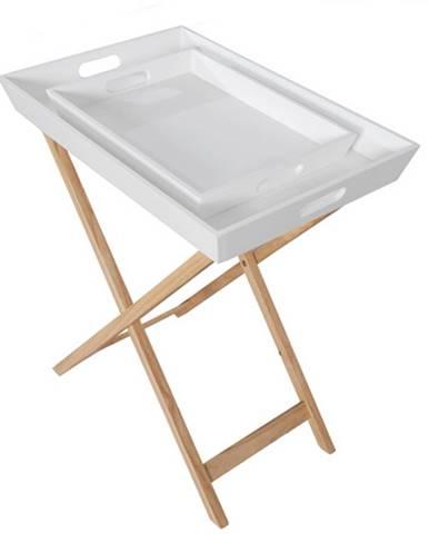 Servírovací stolík s dvomi snímateľnými táckami biela/prírodná NORGE