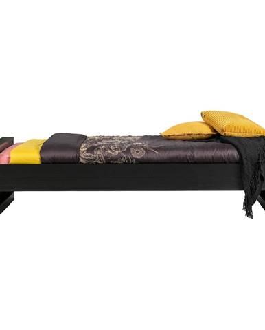 Čierna jednolôžková posteľ z borovicového dreva WOOOD Dennis, 90 x 200 cm