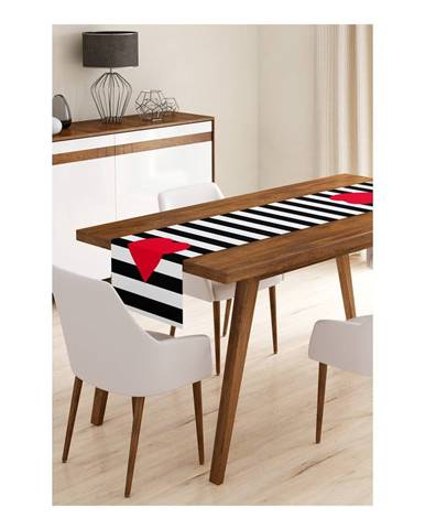 Behúň na stôl z mikrovlákna Minimalist Cushion Covers Stripes with Red Heart, 45×145 cm