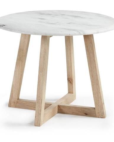 Odkladací stolík z mangového dreva a mramoru La Forma Hella