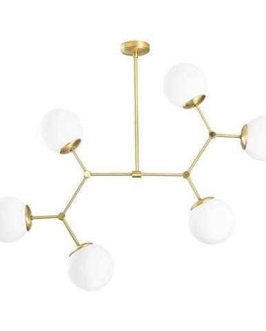 Závesné svietidlo pre 6 žiaroviek v zlato-bielej farbe Opviq lights Damar