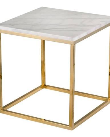 Biely mramorový stolík s podnožím v zlatej farbe RGE Accent, 50 x 50 cm