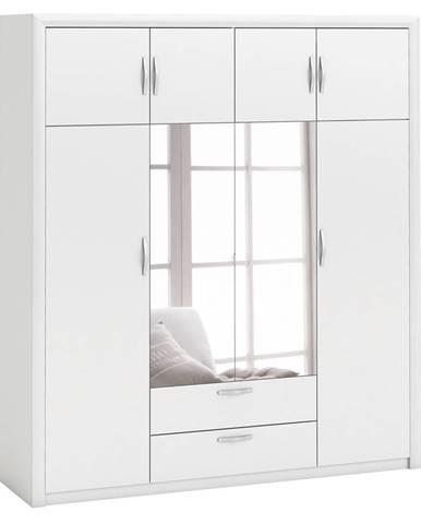 Skriňa 4-dverová PLUTON perleťovo biela