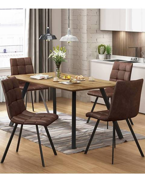 IDEA Nábytok Jedálenský stôl BERGEN dub + 4 stoličky BERGEN hnedé mikrovlákno