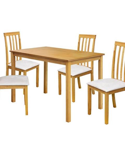 IDEA Nábytok Stôl + 4 stoličky MALAGA lak javor