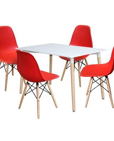 Jedálenský stôl 120x80 UNO biely + 4 stoličky UNO červené