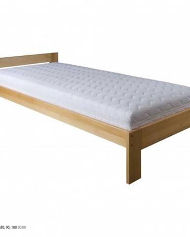 Drewmax Jednolôžková posteľ - masív LK184 | 80 cm buk