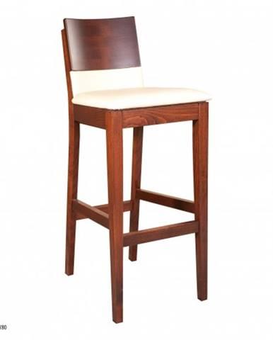 Drewmax Barová stolička - masív KT192   buk / koža