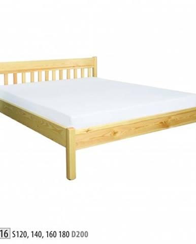 Drewmax Jednolôžková posteľ - masív LK116   120 cm borovica
