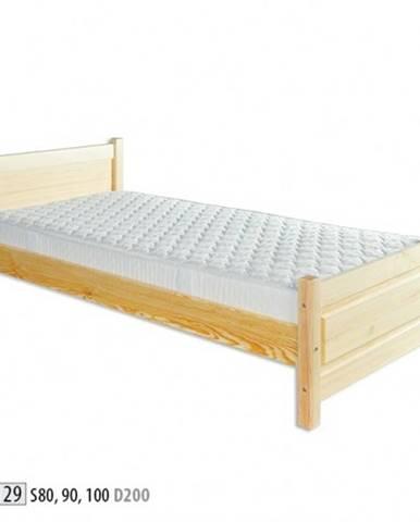 Drewmax Jednolôžková posteľ - masív LK129   90 cm borovica