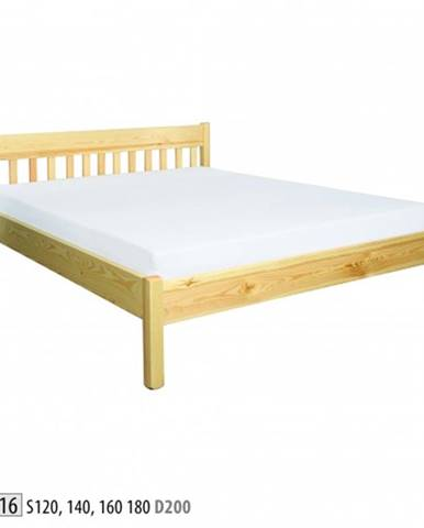 Drewmax Manželská posteľ - masív LK116   140 cm borovica