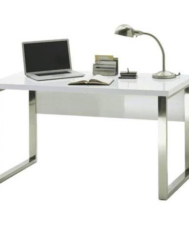 Písací stôl ABADON biela vysoký lesk