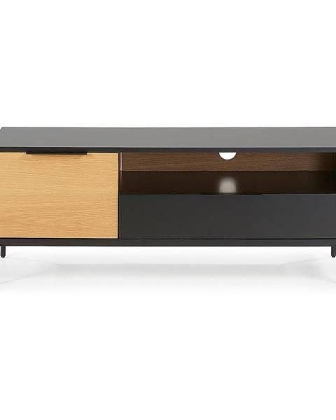 La Forma Čierno-hnedý TV stolík La Forma SAVOI, 120 x 50 cm