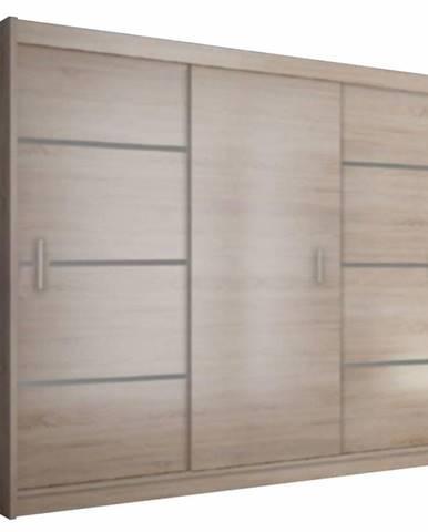 Skriňa s posúvacími dverami dub sonoma/sivá MERINA 250