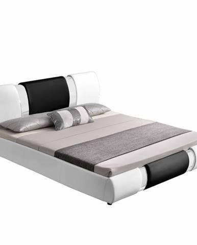 Moderná posteľ biela/čierna 180x200 LUXOR