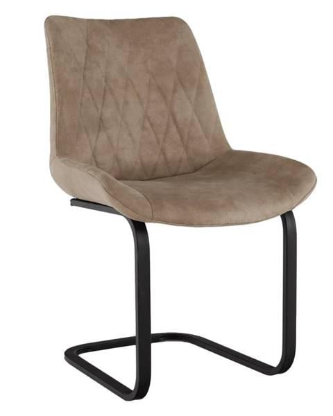 Tempo Kondela Jedálenská stolička svetlohnedá látka s efektom brúsenej kože DENTA rozbalený tovar