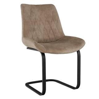 Jedálenská stolička svetlohnedá látka s efektom brúsenej kože DENTA rozbalený tovar