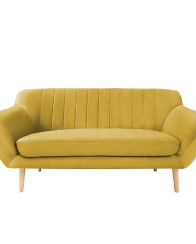 Žltá zamatová pohovka Mazzini Sofas Sardaigne, 158 cm