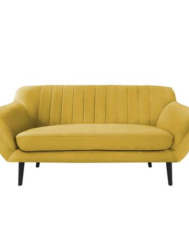 Žltá zamatová pohovka Mazzini Sofas Toscane, 158 cm