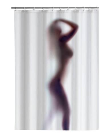 Biely sprchový záves s protiplesňovou povrchovou úpravou Wenko Silouette, 180 x 200 cm