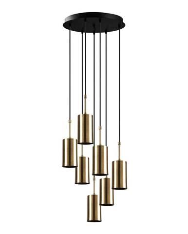 Závesné svietidlo pre 7 žiaroviek v zlatej farbe Opviq lights Kem Tube
