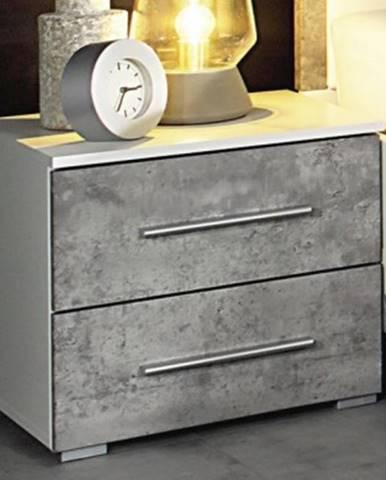 Nočný stolík Siegen, biely/sivý betón%