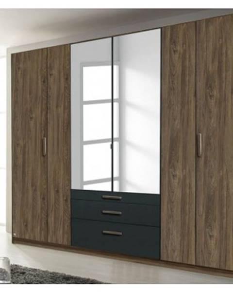 ASKO - NÁBYTOK Šatníková skriňa Mosbach, dub stirling/šedá, otočné dvere%
