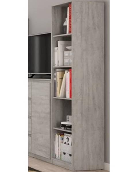 ASKO - NÁBYTOK Úzký regál Carlos, šedý beton, 40 cm%