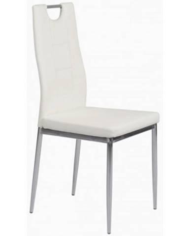 Jedálenská stolička Melania, biela ekokoža%