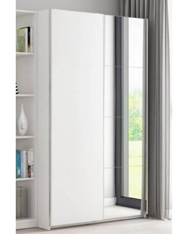 Šatníková skriňa Carlos, biela, 125 cm, posúvné dvere%