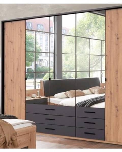 ASKO - NÁBYTOK Šatníková skriňa s otočnými dverami Coventry, 225 cm, dub artisan/antracitová oceľ%