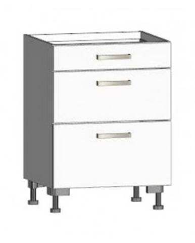 Dolná kuchynská skrinka so zásuvkami One ES603Z, biely lesk, šírka 60 cm%