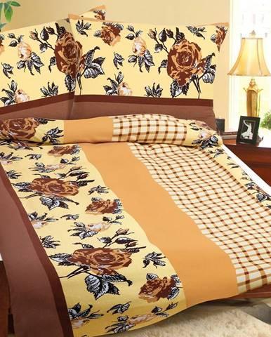 Bellatex Bavlnené obliečky Hnedá ruža s kocôčkou, 140 x 200 cm, 70 x 90 cm