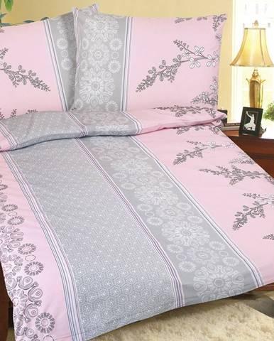 Bellatex Krepové obliečky Krík ružovo-sivá, 140 x 200 cm, 70 x 90 cm, 140 x 200 cm, 70 x 90 cm