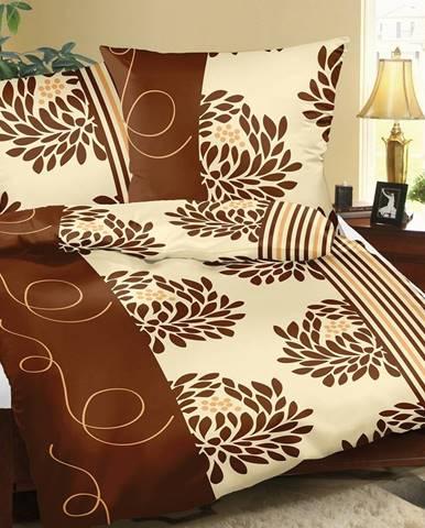 Bellatex Bavlnené obliečky Chryzantéma hnedá, 140 x 200 cm, 70 x 90 cm
