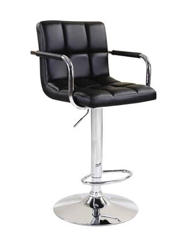Barová stolička čierna ekokoža/chróm LEORA 2 NEW