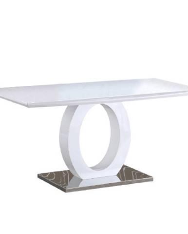 Jedálenský stôl biela vysoký lesk/oceľ ZARNI