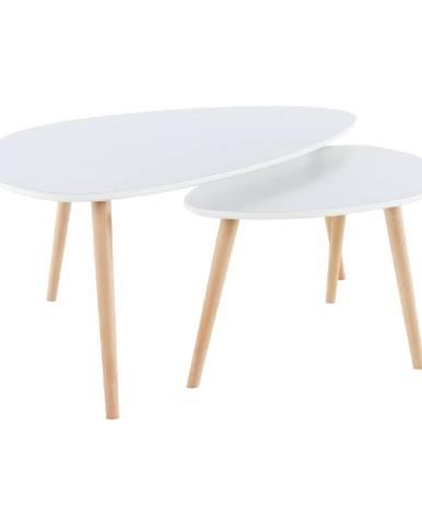 Set 2 konferenčných stolíkov  biela/buk FOLKO NEW