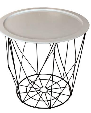 Príručný stolík biela/čierna SALERO